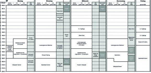 Hallenplan-Änderungen ab 14. Juni 2018