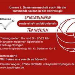Volleyball-Damen suchen Trainer/in und Spielerinnen für Bezirksliga